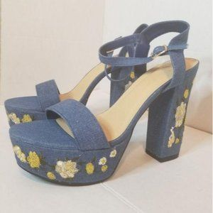 2 FOR 40 Denim Embroidered Chunky Heel